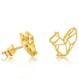 Wholesale Antique Stud Earrings Silver Plated Stainless Steel Dainty Origami Squirrel Stud Earrings For Women Jewellery