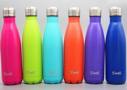 Wholesale NEW Swell Men s Large Stainless Steel Bottle Vacuum Flask Cup S well Sports bicycle water Bottles ml Best quality colors