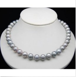 """CHARMING 9-10MM ROUND NATURAL SOUTH SEA GRAY PEARL NECKLACE 18""""14k white Gold"""