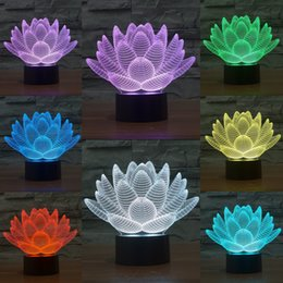 Mixed Lot Lotus Flower 3D Optical Illusion Light 10 LEDs Acrylic Light Panel DC 5V Factory Wholesale