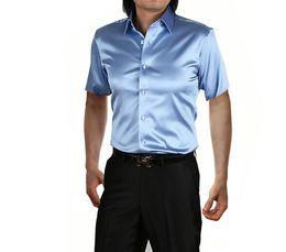 Wholesale-2016 summer Brand Shirts Men Emulation silk satin shirt Men's short sleeve shirt