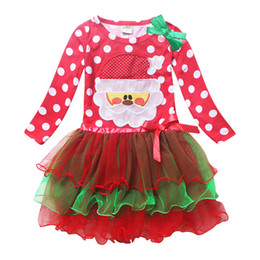 2017 Girls Lace Dresses Santa Point Red Long sleeve Dress With Bow Decoration Kids Clothes Baby Christmas Gifts Clothing
