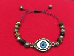 2016 Turkey Evil Eye Bracelet Resins Beads Rope Chain Fatima Hand Bracelet Protect Good Luck Charms Wristband Donna Stone Bracelet jewelry