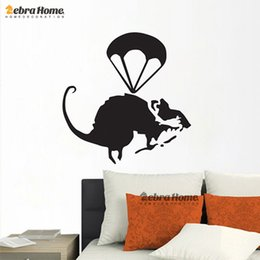 Wholesale Helicopter Rat Banksy Modern Art Creative Cartoon Wall Stickers Mural Wallpaper Decal For Bedroom Home Decoration
