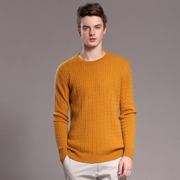 Wholesale-2016 Brand New Mens O-neck Classical Cable 100% Cashmere Sweaters Solid Color Pullovers Men Casual pull homme jumpers jumpers