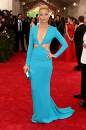 Wholesale W76 Blue Long Sleeve New Arrival Evening Dresses Sexy elizabeth banks met gala Red Carpet Dresses Formal Party Gown
