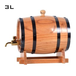 Wholesale 3L Oak Barrel Wine Barrel Liquor Storing Wine Bladder Bar Hotel sets Wooden barrel Decoration inner tant Metal faucet cask Bucket Brew J012