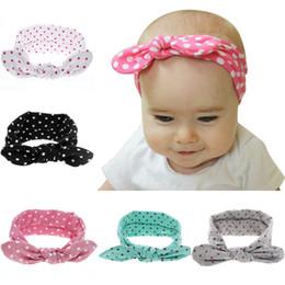 Baby Kids Headband Polka Dot Cotton Rabbit Ear Headbands for Girls Children Hair Accessories Blend Fabric Bow Knot Elastic Hair Band