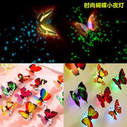 Noche de mariposa en Línea-Luz de la noche de la mariposa del LED Shinning Stick-On lámpara 3W Fibra óptica de la pared de la mariposa luces de la noche para Navidad Decoraciones del día de San Valentín