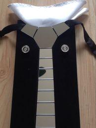 GEOMETIE Brand Pure Handmade Silver Mirror Line Stripe Space Necktie Set