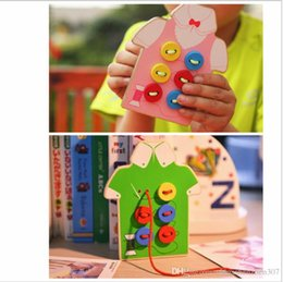 Wholesale Montessori Baby Toys Kinds Wear The Button Wooden Toys Educational Threading Board Beaded Blocks Child Birthday Gift