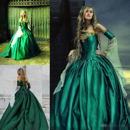 Wholesale 2016 Gothic Wedding Dresses Halloween Victorian Bridal Gowns Long Sleeves Floor Length Corset Back Plus Size Satin Hunt Green Embroidery
