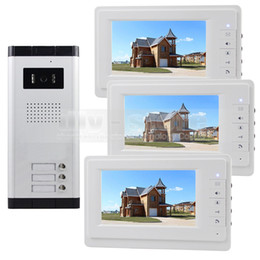"""DIYSECUR 7"""" Video Door Phone Wired Apartment Audio Visual Intercom Entry System IR Camera for 3 Families"""