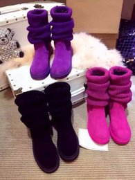 Wholesale Australia Classic Winter Thigh High Boots Female Boots Cowhide Warm Ankle Boot for Women Ladies Wool Knitting Snow Boot