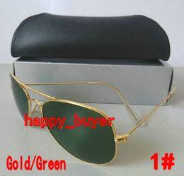 High Quality Classic Pilot Sunglasses Designer Brand Ray Mens Womens Sun Glasses Eyewear Ban Gold Metal Green 58mm Glass Lenses Free Ship