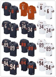 Wholesale Chicago Elite Mens Jerseys Bears Jay Cutler Walter Payton Mike Ditka Leonard Floyd white black rugby shirt