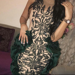 Elegant 2016 Mermaid Evening Dresses Flouncing Sheer Neckline Elastic Silk like Satin Gowns With Sparkling Sequins