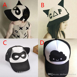 Wholesale Baby Boys girls INS caps hats Free EMS Color children Fashion Cartoon Batman ins flaky clouds mask Baseball Cap Hip hop Hats B