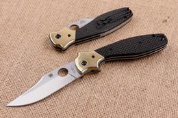 Wholesale 2016 New Top Quality Spyderco C190CFP Ed Schempp Bowie Pocket Knife Plain Edge Carbon Fiber handle EDC Pocket knife with Original Paper box