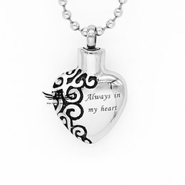 Wholesale Classic design L stainless steel cremation jewelry memorial ashes urn necklace keepsake heart pendant Always in my heart Lockets