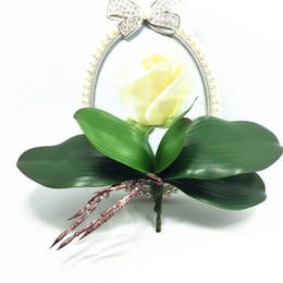 Wholesale 2016 new Artificial flower Orchid leaveshigh High quality PU gluing texture leaves DIY potted flower arrangements