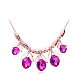 New Arrivals 18K Rose Gold Plated Rose Red Stone Leaf Charms Fashion Wedding Necklace for Women