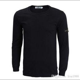 Wholesale new brand new Men s long sleeve round island collar T shirt stone Thickened plus velvet T shirt S XXL long sleeve men tshirts
