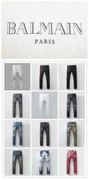 Wholesale 22 Colors New balmain jeans for Men Runway Biker Straight Skinny Denim Trousers Cowboy Famous Brand Slim Designer Mens Joggers Pants