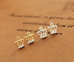 Wholesale Affordable earrings jewelry crown rhinestone Korean style ear studs ear pins gifts for her