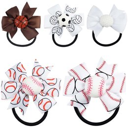 Wholesale 30pcs inch Sports Tiny Hair Accessary Basketball Stacked Pinwheel Hair Bows With Ponytail Hair Holders Holiday Headwear for Baby Girls