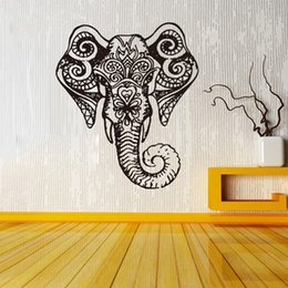 Wholesale Elephant Indian Pattern Yoga Cute Vinyl Wall Decal Sticker Art Bedroom Children Nursery Home Interior Design Decor