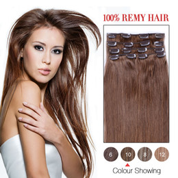 Silky Straight Hot Sale Human Hair Wefs Indian Clip In Hair Extensions #10 Color 7Pcs Set Human Hair