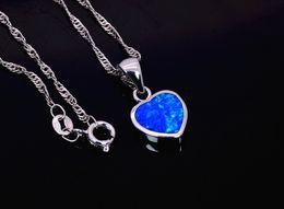 Wholesale & Retail Fashion Jewelry Fine Blue Heart Fire Opal Stone Sliver Pendants For Women PJ17082706