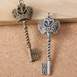 Wholesale- Antique Style Vintage Old Look Skeleton Key Crown Bow Steampunk Charm Jewelry Findings Accessory Bronze and silver