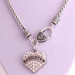 Drop Shipping New Arrival rhodium plated zinc studded with sparkling crystals DAUGHTER heart pendant wheat chain necklace