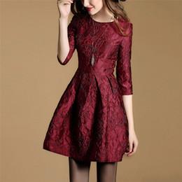 Compra Online Damas mini vestido vestido-Vestidos de moda de la flora de las mujeres de la manera Señoras populares A-Line vestidos para el vestido de bola del otoño viste la alta calidad