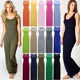 Wholesale Cheap Ladies Clothing Wholesale - Stylish Women Vest Tank Maxi Slim Dress Stretchy Casual Summer Cheap Long Dresses Sleeveless Backless Lady Black Dress Clothing