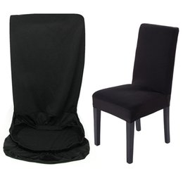 Wholesale New Black Removable Soft fit Stretch Slipcovers Dining Room Lycra Spandex Chair Seat Cover home supplies