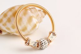 European Fashion Bracelets Bangles Vintage Gold Plated Jewelry Crystal Rhinestones Big Hole Beads Charms Bracelets Elastic Stretch Bracelets