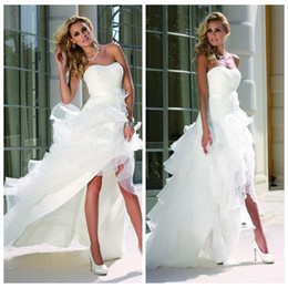 2016 Wedding Dresses Curved Neckline High Low White Organza Satin Backless Sleeveless Cascading Ruffles Wedding Gowns