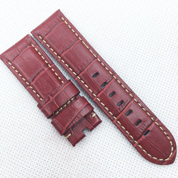 24mm 120mm 75mm Luxury High Quality Red Bamboo Calf Leather Band Strap for PAM LUNMINOR RADIOMIR Wristwatch