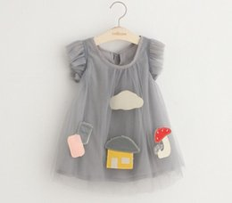 Wholesale 2016 Summer Fashion Sleeveless Little Girls Mushroom House Mesh Dress Children Tulle Dress Kids Party Dress Gray Pink White