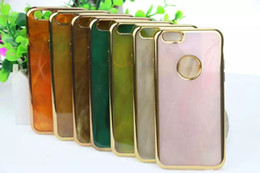 Wholesale For Iphone SE S S Plus Jade Stone Marble Rock Bling Chromed Soft TPU Case For Galaxy s7 Edge Hole Ring Metallic Gold Cover