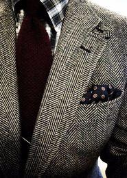 2016 Slim Fit Wool Herringbone tweed tuxedos British style custom made Mens suit tailor slim fit Blazer wedding suits for men(suit+pant)