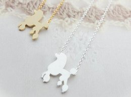 Wholesale Fashion silver plating animal necklace pet dog A poodle dog necklaces for women and mixed color