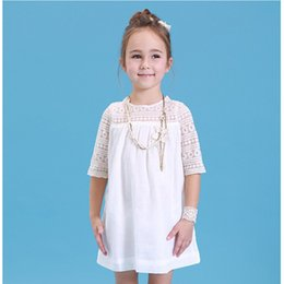 Wholesale Straight Wedding Dress Short Sleeves - Baby & Kids Clothing Girls' Dresses wedding princess Ball Gown Short sleeve white Lace Hook bud silk Straight Dress lower girl gowns #6002