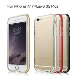 Wholesale For iphone s plus S Hybrid Metal CASE Aluminium Frame Bumper Bumpers Soft Clear Transparent TPU cover case