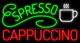 "Espresso Cappuccino Neon Sign Custom Store Pub Restaurant Bar KTV Disco Club Pub Coffee Advertisement Sign Real Glass Tube LED Sign 37""X20"""