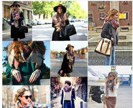 Wholesale Hot Women fashion Plaid Scarf Winter Tartan Scarf Plaid Blanket Scarf New Designer Unisex Acrylic Basic Shawls Scarves Big Size CM