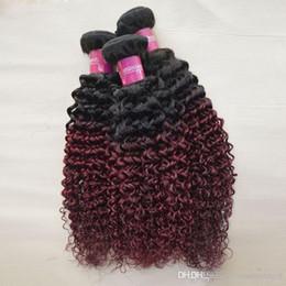2017 cheveux ondulés tisse pour les femmes noires Femmes noires ondulées extensions de cheveux humains tissage 4 pièces Afro Kinky Jerry Curly cheveux bruns brasileux Remy paquets Burgundy Ombre